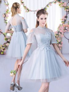 Dazzling Short Sleeves Lace Up Mini Length Lace Quinceanera Court Dresses