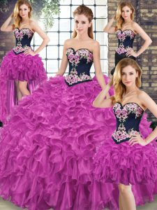 Fabulous Sweetheart Sleeveless Organza Quinceanera Gown Embroidery and Ruffles Sweep Train Lace Up