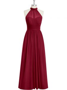 Fashionable Burgundy A-line High-neck Sleeveless Chiffon Floor Length Side Zipper Ruching Prom Evening Gown