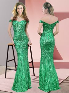 Floor Length Mermaid Sleeveless Green Prom Party Dress Zipper