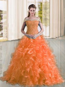 Fashionable Orange A-line Beading and Lace and Ruffles Sweet 16 Quinceanera Dress Lace Up Organza Sleeveless