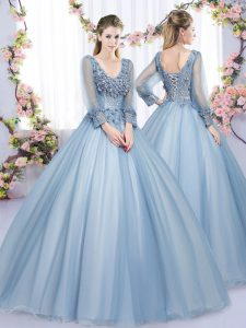 Deluxe Floor Length Ball Gowns Long Sleeves Blue Quinceanera Gown Lace Up