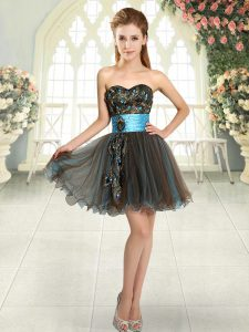 Sweetheart Sleeveless Mini Length Beading and Appliques Brown Tulle