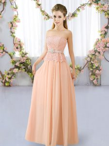 Wonderful Lace and Belt Dama Dress Peach Lace Up Sleeveless Floor Length