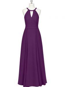 Designer Eggplant Purple Sleeveless Ruching Floor Length Prom Party Dress