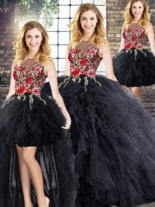 Edgy Black Sleeveless Floor Length Embroidery and Ruffles Zipper Ball Gown Prom Dress