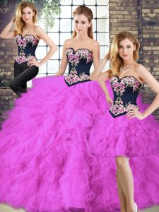 Nice Sleeveless Beading and Embroidery Lace Up Sweet 16 Dresses