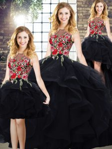 Spectacular Black Sleeveless Tulle Lace Up 15th Birthday Dress for Sweet 16 and Quinceanera