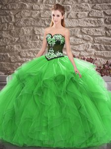 Floor Length Lace Up Sweet 16 Dresses Green for Sweet 16 and Quinceanera with Beading and Embroidery