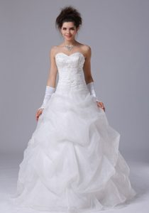 Beautiful Beaded Sweetheart A-Line Wedding Dress in Organza with Pick Ups