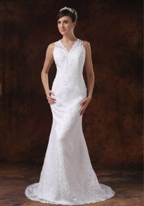 Mermaid Sweep Train V-Neck Wedding Dresses with Lace in White for Cheap