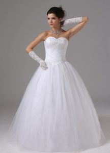 Perfect Ball Gown Tulle Wedding Dress with Appliques and Ruching for Cheap