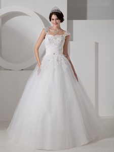 Lovely A-line Long Wedding Dress with Beading and Appliques