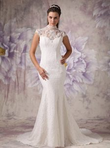 Elegant Mermaid High Neck Court Train Lace Wedding Prom Dress with Lace