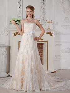 Lovely A-line Strapless Court Train Lace Wedding Dress with Hand Flowers