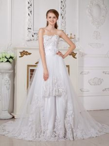 Sweet A-line Court Train Dress for Wedding with Lace and Appliques for Less