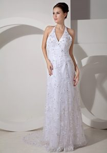 Beautiful Halter Court Train Wedding Dress with Lace and Ruching
