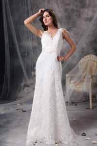 White V-neck Brush Train Wedding Dress in Lace with Belt for Less