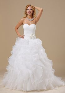 Popular A-line Court Train Ruffled Dress for Wedding in Organza with Ruching