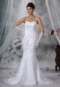 Exclusive Mermaid Court Train Sweetheart Wedding Dress in Lace for Cheap