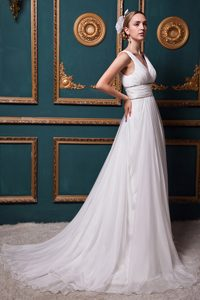 Beautiful V-neck Brush Train Prom Wedding Dress in Organza with Beading
