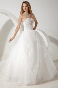 White Ball Gown Strapless Long Wedding Dress with Beading