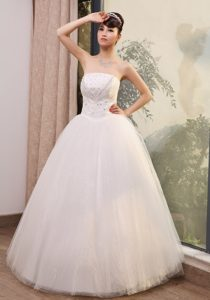 Best Seller Lace Beading Strapless A-line Bridal Dresses to Long