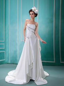 Halter Beading Zipper-up Wedding Dress with Brush Train in Elastic Woven Satin