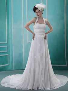 Lovely Beaded Halter Top Pleating Dress for Brides with Chapel Train for Cheap