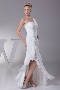 Special Sheath One Shoulder Ruching High Low Dresses for Brides to Floor-length