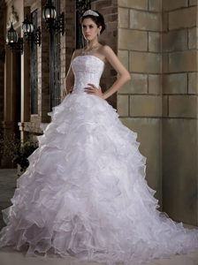 Amazing Strapless White Wedding Dresses in and Organza with Brush Train