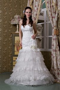 Beautiful Sweetheart Brush Train Ruffled Layers Dress for Bride in and Lace
