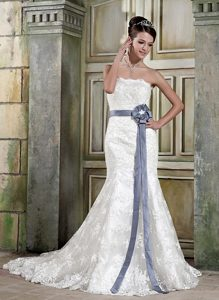 Timeless Mermaid Strapless Lace Court Train Bridal Gown with Grey Flower Sash