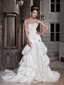Iconic Strapless White Chapel Train Dress for Brides in with Beads