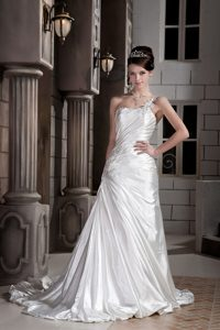 Vintage A-line One Shoulder Court Train Dress for Wedding with Ruching