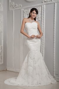 Important Mermaid Sweetheart Brush Train Satin Wedding Bridal Gown with Lace