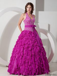 Top Halter Chiffon Fuchsia Embroidery Quinceanera Dresses with Bowknot Sash