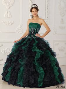Perfect Green and Black Sweet Sixteen Quinceanera Dress in and Organza
