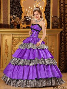 Traditional Ball Gown Sweetheart Purple Quinceanera Gowns in and Zebra