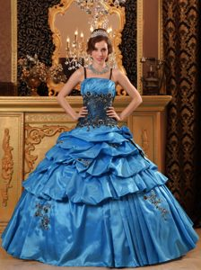 Iconic Blue Appliqued Quinces Gown to Long with Spaghetti Straps