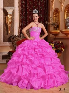 Rose Pink Ball Gown Strapless Dresses for a Quince with Beading and Appliques