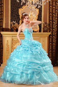 Exquisite Baby Blue Sweetheart Quinceaneras Dresses in Organza with Appliques