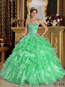 Well-packaged Apple Green Sweetheart Quinceanera Dress with Ruffle in Organza
