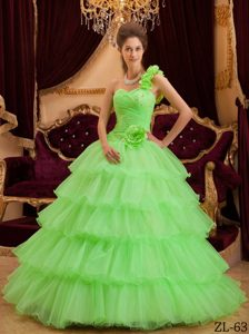 Attractive Green A-line One Shoulder Quinceaneras Gowns with Ruffles to Floor