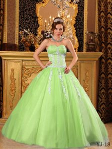 Sweetheart Urbane Quinceaneras Dresses with Appliques in Yellow Green