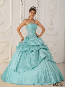 Stunning Strapless Baby Blue A-line Quinceaneras Dresses in with Beading