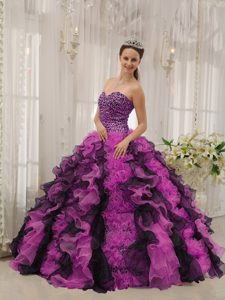 Multicolor Sweetheart Organza Beaded Quinceanera Dress with Ruffled Layers
