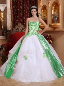 White Strapless Organza Beaded Quinceanera Dress with Appliques on Promotion