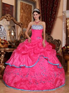 Strapless Organza Quinceanera Dress with Appliques and Embroidery for Cheap