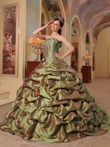 Strapless Quinceanera Dress with Court Train Pick-ups on Promotion